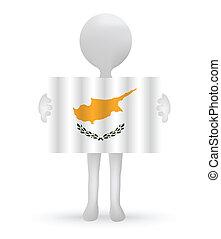 3D Mann mit einer Zypern-Flagge.