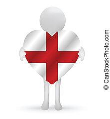 3D-Mann mit England-Flagge.