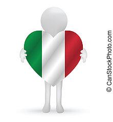 3D Mann mit italienischer Flagge.