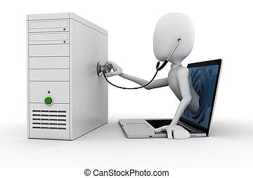 3d Mann, Onlineunterstützung und Wartung, isoliert auf weißem Hintergrund