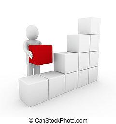 3d menschliche Würfel, rot weiß