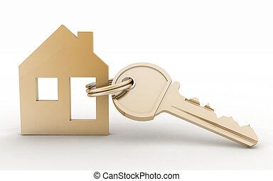 3D-Modelhaussymbol mit Schlüssel