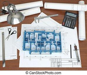 3D-Modelle des Hauses auf dem Schreibtisch-Architekt. 3D-Auftrag