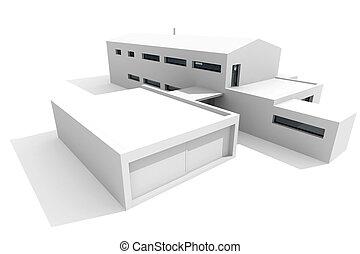 3d modernes Haus, weißer Hintergrund