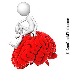 3D Person sitzt in einer aufmerksamen Pose auf rotem Gehirn
