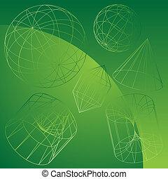 3D primitive Formen grün.