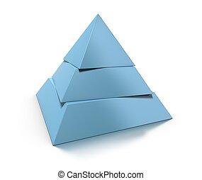 3D-Pyramide, drei Ebenen über dem weißen Hintergrund mit glossyrer Reflexion und Schatten