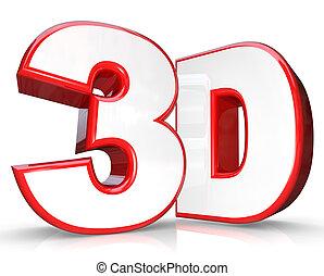 3D-Roter Buchstabe und dreidimensionale Ansicht.