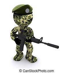 3D-Soldat mit Tarnung.