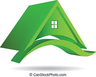 3D vektorgrünes Haus Ikone.