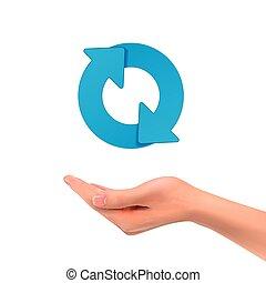 3d, zeichen, besitz, pfeil, hand