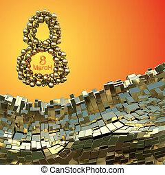 8. März Wort aus goldenen Sphären, die im Raum über abstrakte Berglandschaft Hintergrund von Metallkisten fliegen. Dekorative Grußkarte für internationalen Frauentag. 3D Illustration