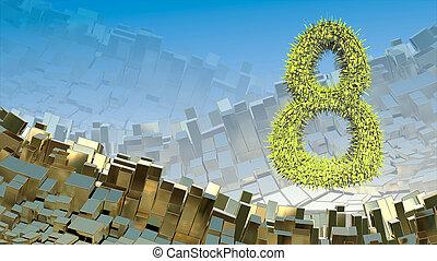 8. März Wort aus grünen Stadtblöcken, die im Raum über abstrakte Berglandschaft Hintergrund von Metallkisten fliegen. Dekorative Grußkarte für internationalen Frauentag. 3D Illustration