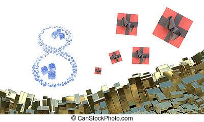 8. März Wort machte Wassertropfen mit Eiswürfeln und Geschenkboxen über abstrakte Berglandschaft Hintergrund von Metallblöcken. Dekorative Grußkarte für internationalen Frauentag. 3D Illustration.