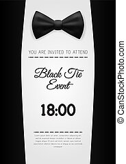 A4 elegante schwarze Krawatte Veranstaltung Einladung Vorlage