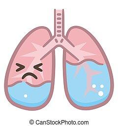 abbildung, anatomisch, koerper, freigestellt, diagramm, menschliche , ödem, lungen, vektor, hintergrund., bronchi, leakage, lunge, flüssigkeit, krankheit, brust, scheme., weißes, alveolen