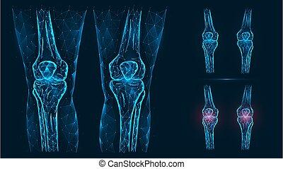 abbildung, anatomy., gelenke, schmerz, knie, blaues, freigestellt, abstrakt, entzündung, menschliche , krankheit, hintergrund., polygonal