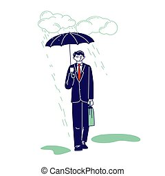 abbildung, durchnäßt, stehen, unter, mann, regen, geschäftsmann, aktentasche, fruehjahr, weather., schirm, oder, depressionen, gießen, herbst, linear, wasser, vektor, regnerisch, kalte , cloud., zeichen, sky., passant, nasse