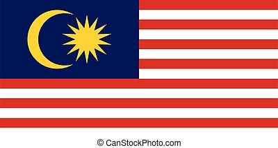 abbildung, fahne, malaysien, vektor
