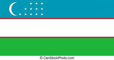 abbildung, fahne, usbekistan, vektor