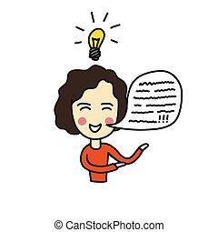 abbildung, gekritzel, ikone, farbe, person, idee, vektor