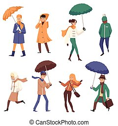 abbildung, karikatur, satz, charaktere, wohnung, herbst, leute, vektor, isolated.