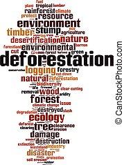 abholzung, wolke, wort