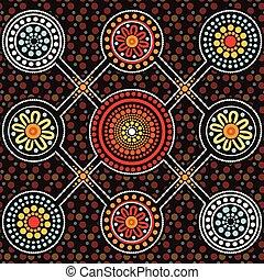 Aboriginal Art Vektor Hintergrund, Connection Konzept.