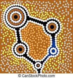 Aborigine-Kunst-Vektor Hintergrund.