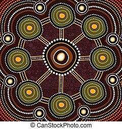 Aborigine-Kunst-Vektor Hintergrund. Verbindungskonzept