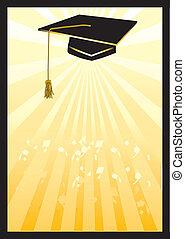 Abschluss-Mörtar-Karte im gelben Rampenlicht.