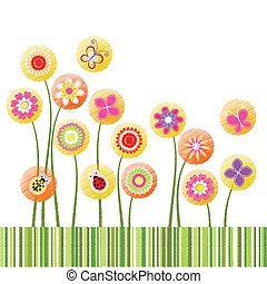 Absperrung des Frühlings, farbenfrohe Blumengrußkarte