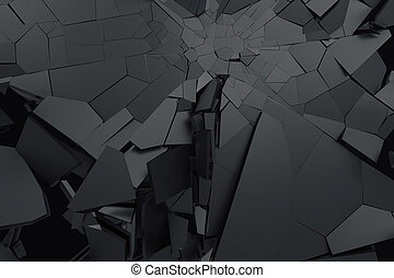 Abstract 3D Rendering der geknackten Oberfläche.