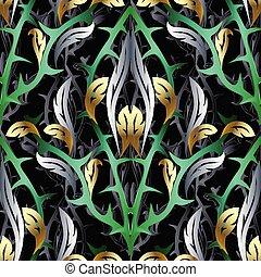 Abstract 3d Vektor nahtlos. Floral Hintergrund mit Fant