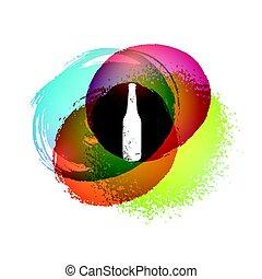 Abstract colorful hand gezeichnete Flecken Hintergrund mit Flasche. Vintage grunge vektorgrafik. Eps10.