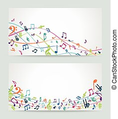 Abstract colorful music notes.