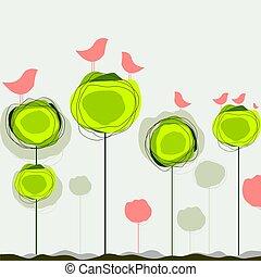 Abstract colorful Vektor Hintergrund mit Vögeln und Baum.