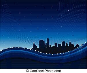 Abstract Green winkt Hintergrund mit Stadtbild.