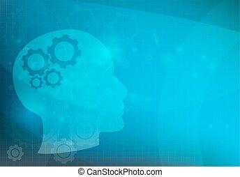 Abstract Hintergrund mit Kopf- und Hirngelenken, Vektor.