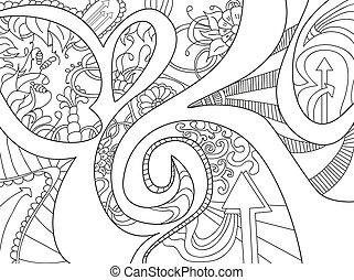 Abstract Hintergrund mit Linien, Pfeil, Welle und Blumen.