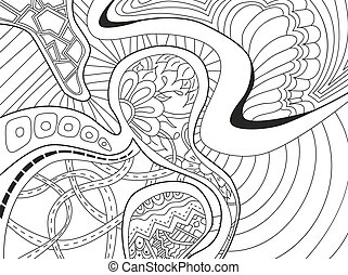 Abstract Hintergrund mit Linien, Wellen und Blumen.
