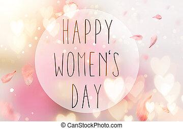 Abstract Komposition für den Frauentag. Rosa Blütenblätter fliegen mit Herzsymbolen.