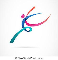 Abstract menschlichen Figur Logo Design. Gym, Fitness, laufender Trainer Vektor, buntes Logo. Aktive Fitness, Sport, Tanz Web Icon und Symbol