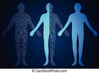 Abstract Technologie Konzept menschliches digitales Design auf Hi-Tech-Hintergrund.