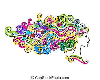 Abstrakt farbenfrohe Frisur, weiblicher Kopf für dein Design