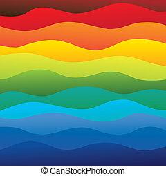 Abstrakt farbenfrohe & vibrante Wasserwellen im Meeresgrund (Hintergrund) - Vektorgrafik. Diese Illustration enthält Schichten von Wasserwellen in Regenbogenspektrumfarben