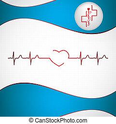 abstrakt, hintergrund, medizin, ekg, kardiologie
