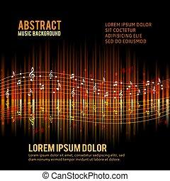 abstrakt, hintergrund, -, musik, thema, notizen, design