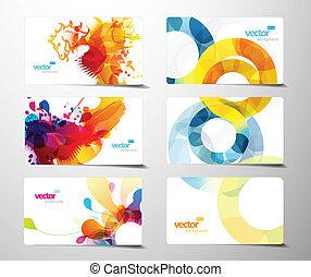 Abstrakte, farbenfrohe Geschenkkarten.
