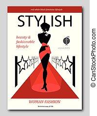 Abstrakte Frau auf einem roten Teppich mit Sternen. Luxuriöses Fashion Magazin Cover Design